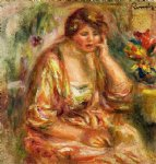 andree in a pink dress by pierre auguste renoir painting
