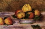 apples on a plate by pierre auguste renoir painting