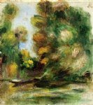 banks of the river a boat by pierre auguste renoir painting