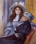 berthe morisot and her daughter julie manet by pierre auguste renoir painting