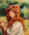 blond in a straw hat by pierre auguste renoir painting