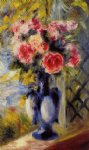 pierre auguste renoir bouquet of roses in a blue vase painting