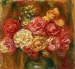pierre auguste renoir bouquet of roses in a green vase ii painting