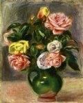 pierre auguste renoir bouquet of roses in a green vase painting