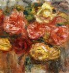 bouquet of roses in a vase by pierre auguste renoir painting