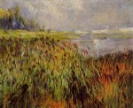 bulrushes on the banks of the seine by pierre auguste renoir painting