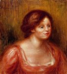 bust of a woman in a red blouse by pierre auguste renoir painting