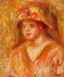 bust of a young girl in a straw hat by pierre auguste renoir painting