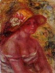 bust of a young girl wearing a straw hat by pierre auguste renoir painting