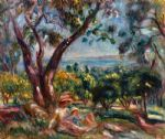 pierre auguste renoir cagnes landscape with woman and child painting