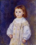 child in a white dress by pierre auguste renoir painting
