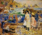 sea famous paintings - children by the sea in guernsey by pierre auguste renoir
