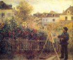 pierre auguste renoir claude monet in his garden at argenteuil painting