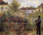 claude monet painting in his garden at argenteuil by pierre auguste renoir painting