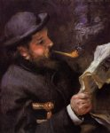 claude monet reading by pierre auguste renoir painting