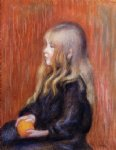 coco holding a orange by pierre auguste renoir painting
