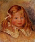 coco in a red ribbon by pierre auguste renoir painting