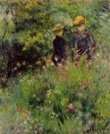 conversation in a rose garden by pierre auguste renoir painting