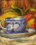 cup and fruit by pierre auguste renoir painting