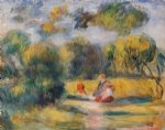 figures in a landscape by pierre auguste renoir painting