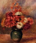 pierre auguste renoir flowers in a green vase painting