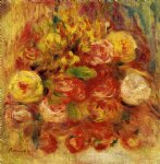pierre auguste renoir flowers in a vase with blue decoration painting 26157