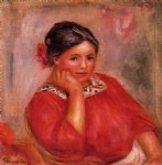 gabrielle in a red blouse ii by pierre auguste renoir painting