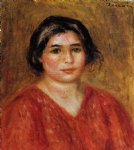gabrielle in a red blouse by pierre auguste renoir painting