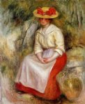 gabrielle in a straw hat by pierre auguste renoir painting