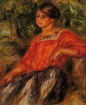gabrielle in the garden at cagnes by pierre auguste renoir painting