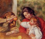 girl acrylic paintings - gabrielle jean and a little girl by pierre auguste renoir