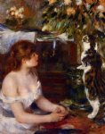 girl and cat by pierre auguste renoir painting