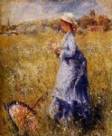 flower oil paintings - girl gathering flowers by pierre auguste renoir
