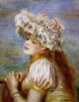 girl in a lace hat by pierre auguste renoir painting