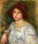 girl in a red hat by pierre auguste renoir painting