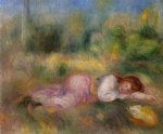 pierre auguste renoir girl streched out on the grass painting