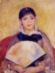 girl with a fan by pierre auguste renoir painting