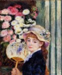 girl with fan by pierre auguste renoir painting