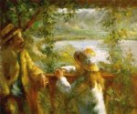 pierre auguste renoir near the lake ii painting