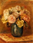 roses in a blue vase ii by pierre auguste renoir paintings