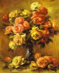 roses in a vase by pierre auguste renoir paintings