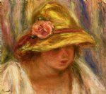 study of a woman in a yellow hat by pierre auguste renoir painting