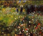 summer landscape aka woman with a parasol in a garden by pierre auguste renoir painting