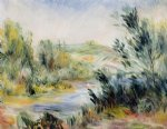 boat watercolor paintings - the banks of a river rower in a boat by pierre auguste renoir