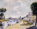 the banks of the seine bougival by pierre auguste renoir painting