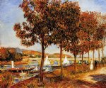 the bridge at argenteuil in autumn by pierre auguste renoir painting