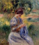 the embroiderer by pierre auguste renoir painting