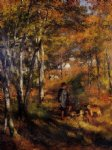 pierre auguste renoir the painter jules le coeur walking his dogs in the forest of fontainebleau painting-26386