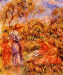 pierre auguste renoir three women and child in a landscape posters