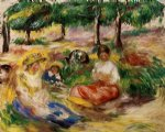 three young girls sitting in the grass by pierre auguste renoir painting